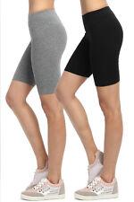 TheMogan Women's Mid Thigh Cotton Span Active Short Leggings Yoga Sport Layer
