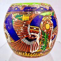 """5"""" Vintage Mexican Bright Folk Art Talavera Vase Pottery Terracotta Clay Pot"""
