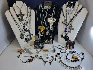 Halloween Gothic Jewelry Earrings Necklace Rings Bracelet Lot Coffin Ouija Cross