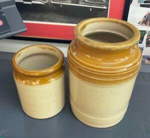 Vintage Antique Glazed Stoneware Storage Jars Pot Utensil Kitchenalia 6 & 8.75in