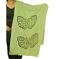 Sanskriti New Embroidered Indian Shawl Scarf Patch Work Woolen Green Stole Warm