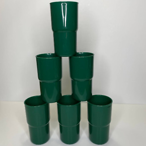 Tupperware Set of 6 Stackable 12 oz Cups Tumblers Green Model 2412A-2