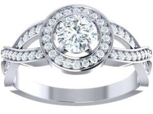 Halo Anniversary Ring I1 G 1.00 Ct Round Cut Diamond 14K White Yellow Rose Gold