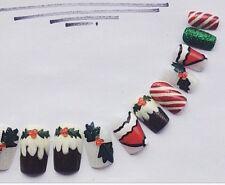HAND Painted unghie finte Natale Festive copertura completa suggerimenti Square