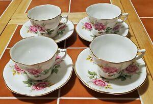 4 Bone China Porcelain Tea Cups Saucers Royal Seagrave? Gold Trim Made England