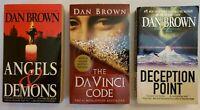 Dan Brown Lot of 3 Paperback books Davinci Code, Deception point,Angles & demons