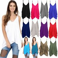 Ladies Lagenlook Romper Plain Hanky Cami Top Womens Oversized Baggy Vest Top