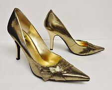 6906c021a352 Nine West Gold Hi Heels Stiletto Hi Heels Leather Pointy Toe Bow Women s  6.5 M