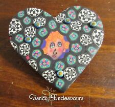 TWO FISH Polymer Millefiori Clay Heart Pin with Face