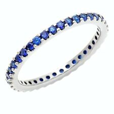 JEAN DOUSSET ABSOLUTE STERLING CREATED SAPPHIRE ETERNITY RING SIZE 7 HSN SOLDOUT