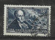 Timbre FRANCE Oblitéré YT 816 MI 827 Ecrivain Chateaubriand 1948