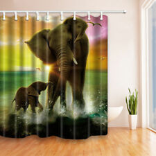 Elephant mother and child Shower Curtain Bathroom Decor Fabric & 12hooks 71*71in