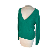 Charlotte Russe Cable Knit V Neck Sweater Green S Small