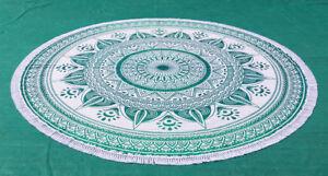 Sea Green Round Mandala Tapestry Mandala Beach Throw Towel Round Table Cover