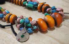 Bohemian Berber Handmade Resin Amber African Trade Bead Etnic Necklace Moroccan