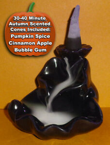 Backflow Waterfall Incense Burner & 10 Fall Scented 30-40 Min. Charcoal Cones!