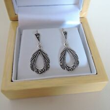 Sterling Silver Vintage Style Marcasite Drop Earrings