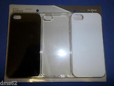 NEW 3 PACK CELL PHONE CASES BLACK CLEAR WHITE FITS APPLE  I5 87503 FREE SHIPPING