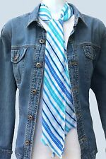 New Skinny Scarf Wavy Stripes-Aqua Blue White Green Hairband Belt Silk Feel 3206