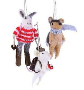 """CODY FOSTER FELT ORNAMENT """"WOODLAND CRITTERS"""" SET of 3 NEW * FREE SHIPPING"""
