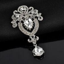Rhinestone diamante Wedding Broach Pin Silver Large Crystal Flower Bridal Brooch