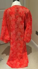 Vintage Japanese Vermilion Cotton Muslin 'Maple Leaf' Juban/UnderKimono/Robe M/L