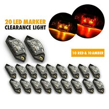 20PCS Mini Universal Clear Lens LED Marker Amber RED RV Exterior Light 3.375""