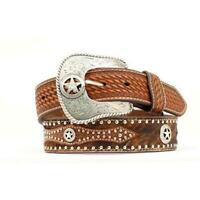 Nocona Belt 44 Inch Western Leather Hair Star Concho Mens Belt Brown
