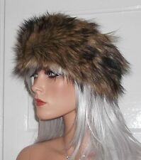 Fur Headband in Gorgeous Brown and Black Long Luxurious Faux Fur - Handmade