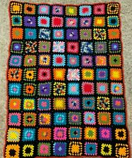 Vintage Handmade Crochet Afghan Granny Square Throw Blanket Multicolor Rainbow