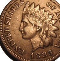 OLD US COINS 1883 INDIAN HEAD CENT PENNY FULL LIBERTY BEAUTY