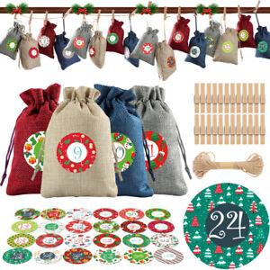 24X Hessian Drawstring Gift Bags Fabric Christmas Party Candy Bags Pouch Wedding