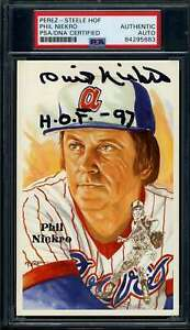 Phil Niekro HOF 97 PSA DNA Coa Signed Perez Steele Postcard Autograph