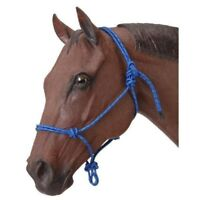 Tough-1 Poly Nylon Rope Tied Halter Horse with Adjustable Snug Fit