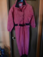 OSSI Ski Suit / Pants Insulated Size 12 Pink with Black One Piece Ski Outfit