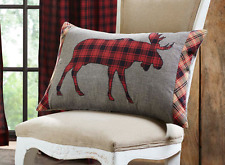 NORTH WOODS MOOSE PILLOW : CUMBERLAND RED TARTAN PLAID RUSTIC CABIN TOSS CUSHION