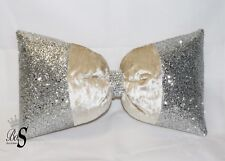 Bling Offer!  Champagne  Crushed Velvet, Silver Glitter Bow, Cushion.