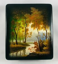 Estate Russian Fedoskino Lacquer Box Autumn Scene w/ River Bridge