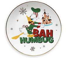 Disney Parks Holiday Cheer Donald Duck Bah Humbug Christmas Dessert Plate New