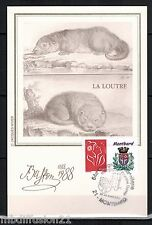 1988/TIMBRE/FRANCE**FDC CP 1°JOUR!!**ANIMAUX-LA LOUTRE-BUFFON**STAMP.MONTBARD