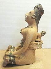 """Mexican Clay Statue Sculpture Mother and Child 11"""" Tall"""