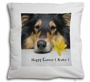 Personalised Name Rough Collie Soft Velvet Feel Cushion Cover Wit, AD-RC2DA2-CPW