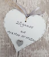 personalised handmade silver/25th wedding anniversary wooden heart gift/present