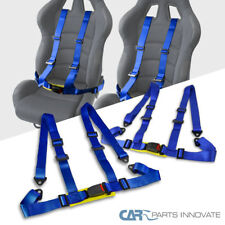 "2"" Strap Blue 4 Point 4PT Safety Buckle Harness JDM Racing Seat Belt Pair"