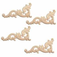 1X(4 Stueck Verzierung Ornament Holz Ornamente Handgemacht fuer Schrank Moeb Ikl