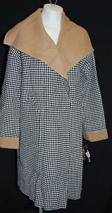 ANNE KLEIN Vintage Collection Houndstooth Wool / Cashmere Swing Coat S $795 MWT