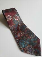Vintage 60s 70s Silk Floral Wembley Mens Neck Tie Maroon Blue Flowers
