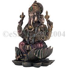 Ganapati Ganesha Shiva Statue Prosperity Fortune Wisdom Indian Elephant Lotus Ga