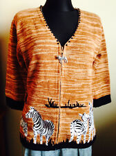 African Savannah STORYBOOK KNITS Zebra Knitted Cardigan Sweater S Beaded New TAG