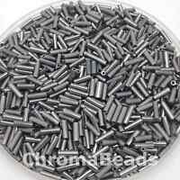 50g glass bugle beads - Steel Metallic - approx 6mm tubes, jewellery making